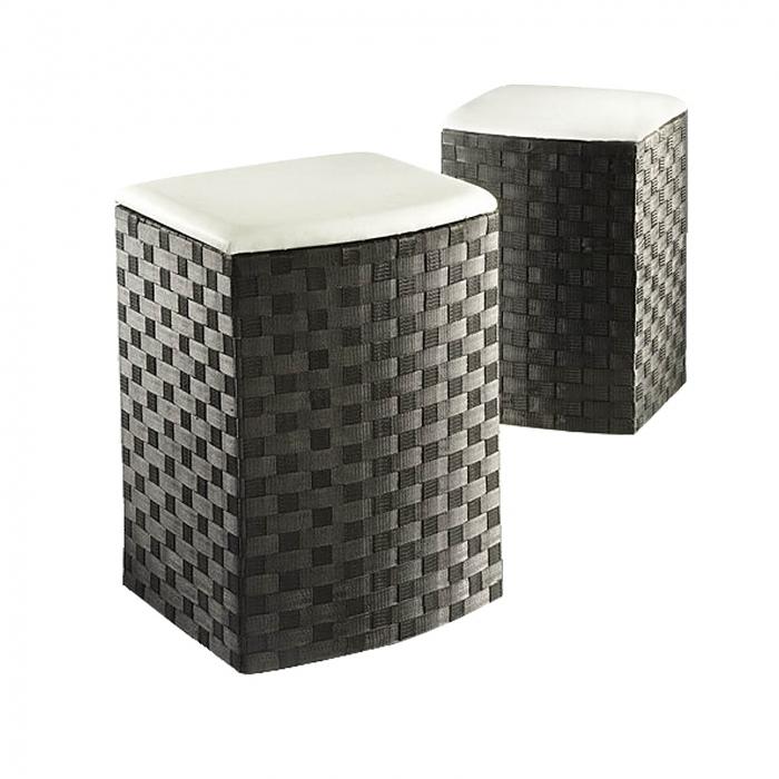 w schekorb mit sitzpolster schwarz 2er set w schek rbe. Black Bedroom Furniture Sets. Home Design Ideas