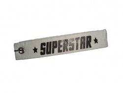 Schlüsselanhänger Superstar weiß Schlüsselband mit Spruch