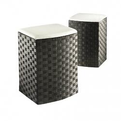 Wäschekorb mit Sitzpolster schwarz 2er Set