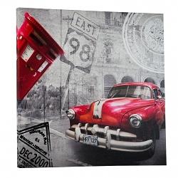 Wandbild Retro Oldtimer rot 50x50cm