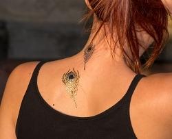 Flash Tattoo Pfauenfeder gold/silber 9-teilig