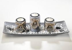 Dekoset Grey mit 3 Kerzenhalter rechteckig