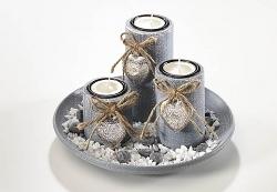 Dekoset Grey mit 3 Kerzenhaltern rund