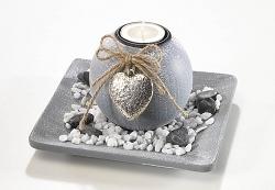 Dekoset Grey mit rundem Kerzenhalter
