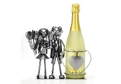 Weinhalter mit Brautpaar-Figur