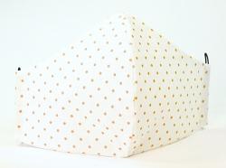 Baumwollmaske Punkte weiß/sonnengelb mit verstellbaren Gummibändern