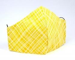 Stoffmaske Streifen gelb mit Einlagefach-Option und verstellbaren Gummibändern