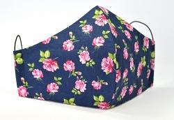 Baumwollmaske Roses dunkelblau mit verstellbaren Gummibändern für Frauen