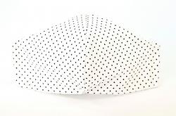 Stoffmaske Punkte weiß/schwarz mit Einlagefach-Option und verstellbaren Gummibändern