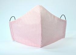 Baumwollmaske Karo rosa mit Einlagefach-Option und verstellbaren Gummibändern