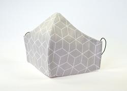 Baumwollmaske Hexagon hellgrau mit Einlagefach-Option und Größenwahl