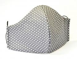 Stoffmaske Mini-Sterne grau mit verstellbaren Gummibändern und Größenwahl