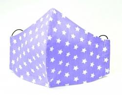Kindermaske Sterne lila/weiß mit verstellbaren Gummibändern