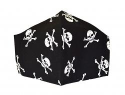 Stoffmaske Totenkopf-Skull schwarz mit Einlagefach-Option und Größenwahl