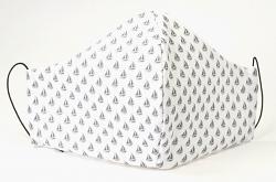 Stoffmaske Segelboot weiß/grau mit Größenwahl