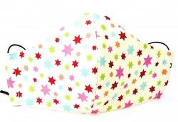 Kinder-Stoffmaske Bunte Sternchen mit verstellbaren Gummibändern