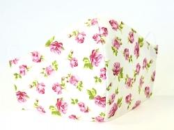 Baumwollmaske Roses weiß mit Filterfach-Option und verstellbaren Gummibändern