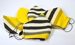 Baumwollmaske Streifen gelb Wendemaske innen schwarz