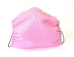 Leichte Stoffmaske Punkte pink Facie mit Größenwahl 1-lagig