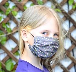 Stoffmaske gerafft Bunte Dreiecke 1-lagig mit Nasenbügel-Option & Größenwahl