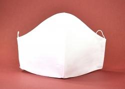 Stoffmaske weiß uni mit Einlagefach-Option und Größenwahl