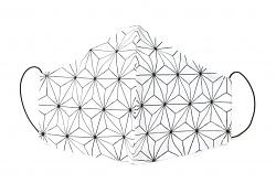 Stoffmaske Asanoha Blüte weiß mit Einlagefach-Option und Größenwahl