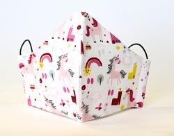 Kindermaske Einhorn weiß mit verstellbaren Gummibändern *fast ausverkauft*