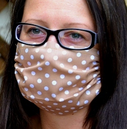 Leichte Stoffmaske Punkte hellbraun Facie 1-lagig mit Nasenbügel-Option & Größenwahl