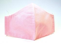 Stoffmaske Vichy Karo rosa mit verstellbaren Gummibändern