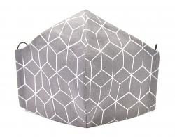 Stoffmaske Hexagon dunkelgrau mit verstellbaren Gummibändern und Größenwahl