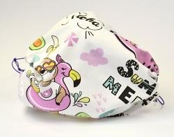 Jersey Stoffmaske Aloha Faultier & Flamingo 1-lagig mit Nasenbügel-Option & Größenwahl