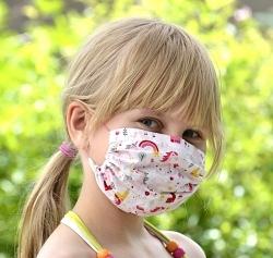 Sommer-Stoffmaske Einhorn Facie 1-lagig mit dünnen Gummibändern