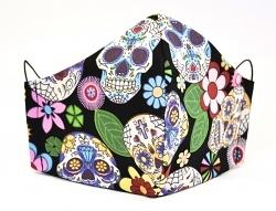 Baumwollmaske Dia de Muertos schwarz Mexikanische Totenköpfe Einlagefach-Option