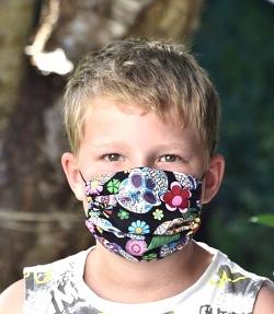 Stoffmaske Mexikanische Totenköpfe Facie 1-lagig mit Nasenbügel-Option & Größenwahl