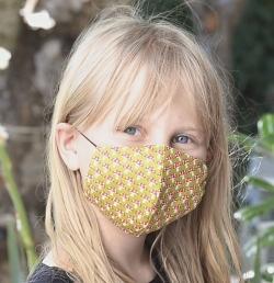 Kinder-Stoffmaske Fliegenpilz grün mit verstellbaren Gummibändern