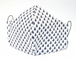 Stoffmaske Segelboot weiß/blau mit Größenwahl und Einlagefach optional