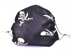 Leichte Stoffmaske Piraten Totenkopf Facie 1-lagig mit Nasenbügel-Option & Größenwahl