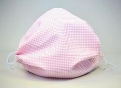 Leichte Stoffmaske Karo rosa Facie 1-lagig mit Nasenbügel-Option & Größenwahl