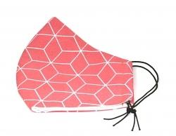 Baumwollmaske Hexagon lachsrot mit Einlagefach-Option und Größenwahl