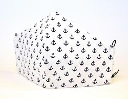 Baumwollmaske Mini Anker weiß/dunkelblau mit Einlagefach-Option und Größenwahl