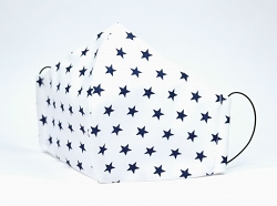 Baumwollmaske Sterne weiß/dunkelblau mit Filterfach-Option und Größenwahl