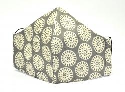 Baumwollmaske Afrikanisches Muster Erdtöne mit Einlagefach-Option und Größenwahl