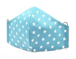 Baumwollmaske Sterne türkis mit Einlagefach-Option und Größenwahl