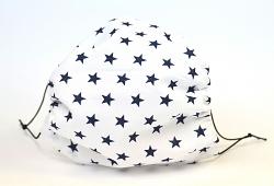 Leichte Stoffmaske Sterne weiß/dunkelblau Facie 1-lagig mit Nasenbügel-Option & Größenwahl