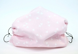 Leichte Stoffmaske Dreiecke rosa Facie 1-lagig mit Nasenbügel-Option & Größenwahl
