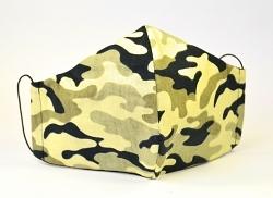 Baumwollmaske Camouflage sand mit Einlagefach-Option und Größenwahl