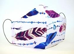 Baumwollmaske Federn blau mit Einlagefach-Option und Größenwahl