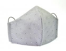 Baumwollmaske Illusion grau mit Einlagefach-Option und Größenwahl