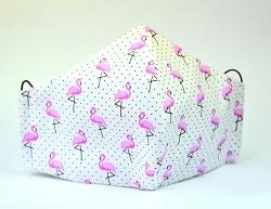 Baumwollmaske Flamingo & Dots weiß mit Einlagefach-Option und Größenwahl