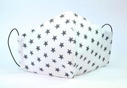 Baumwollmaske Sterne weiß/grau mit Einlagefach-Option und Größenwahl